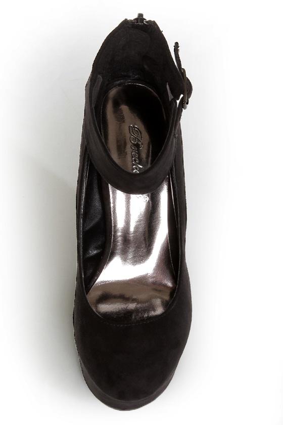 Cilo 41 Black Ankle Strap Platform Wedges