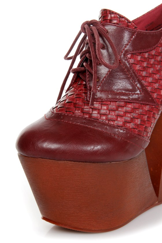 Privileged Court Burgundy Basketweave Oxford Wedge Platforms
