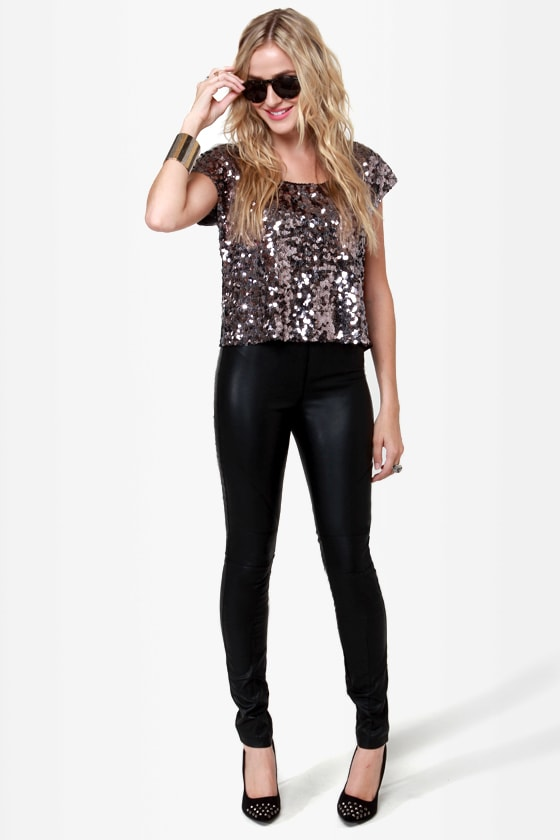 Flashbulb Pewter Sequin Top