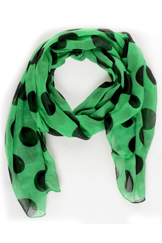 Connect the Dots Green Polka Dot Scarf at Lulus.com!