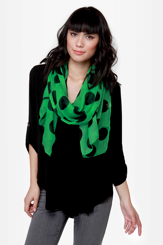 Connect the Dots Green Polka Dot Scarf