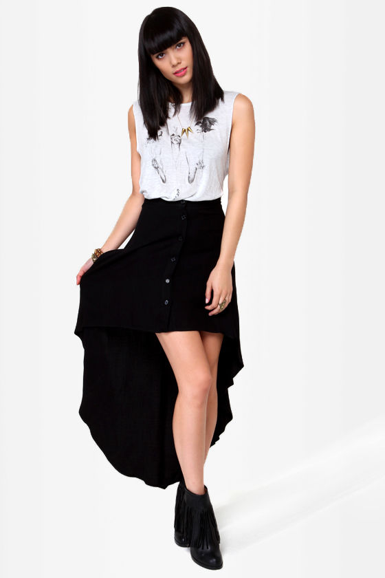 Great Expectations Black High-Low Skirt at Lulus.com!