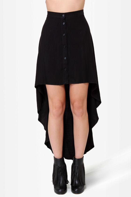 black skirt high low skirt button up skirt 35 50