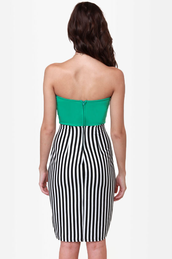 LULUS Exclusive Drive My Car Teal Striped Dress at Lulus.com!