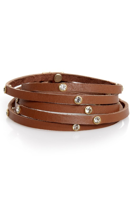 In High Diamond Brown Leather Wrap Bracelet