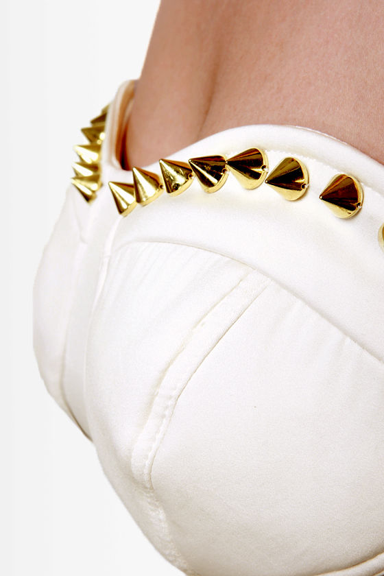 Spike Lane Ivory Studded Bustier Top at Lulus.com!