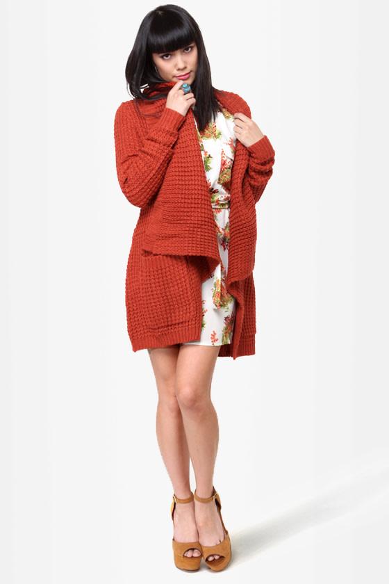 146df7c293 THML Sweater - Rust Red Sweater - Sweater Wrap -  88.00