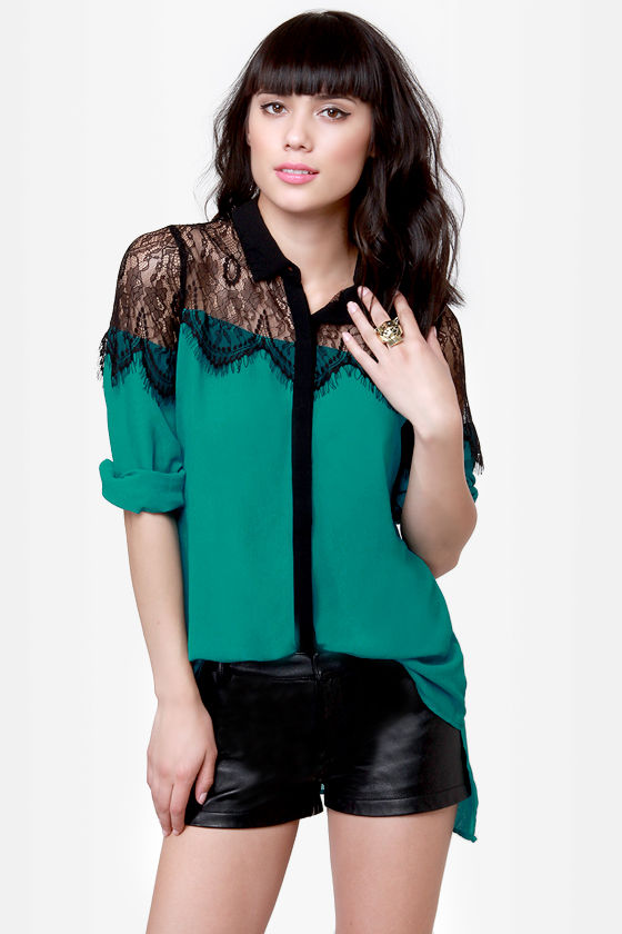 Proper Topper Black and Teal Button-Up Top at Lulus.com!