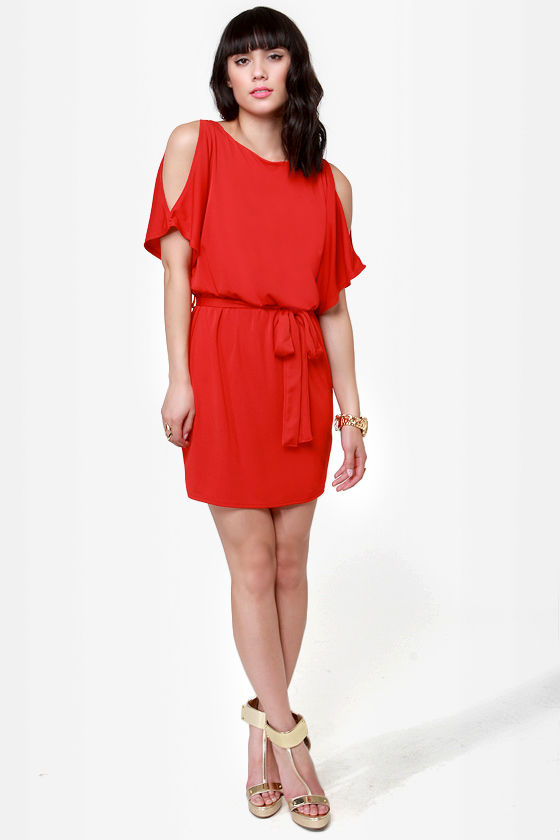 What a Looker Cutout Red Dress at Lulus.com!