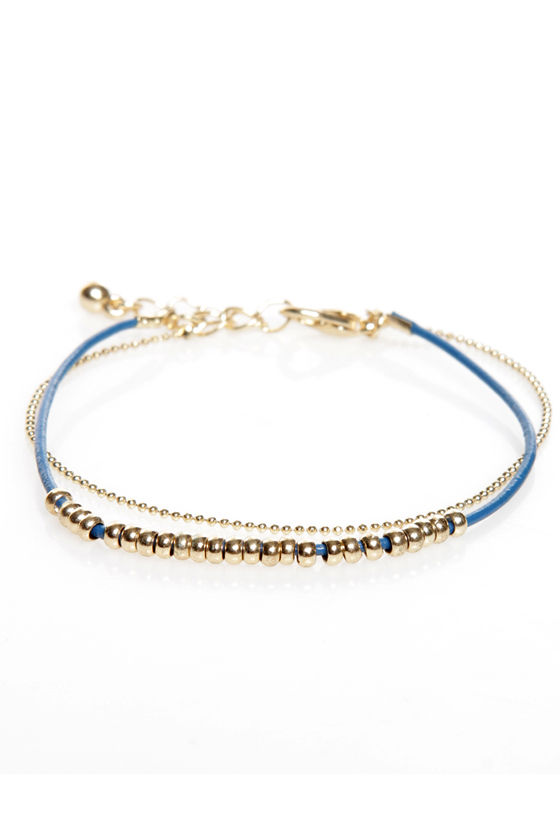 Double Trouble Blue and Gold Bracelet at Lulus.com!