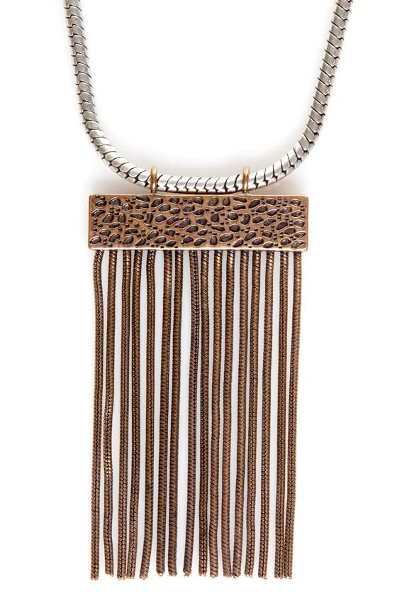 Mink Pink Snake Charmer Fringe Necklace at Lulus.com!