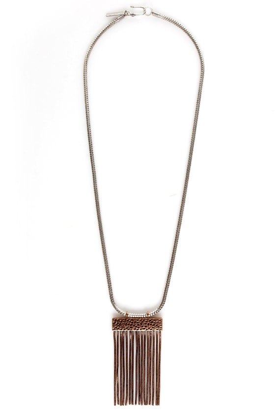 Mink Pink Snake Charmer Fringe Necklace at Lulus.com!