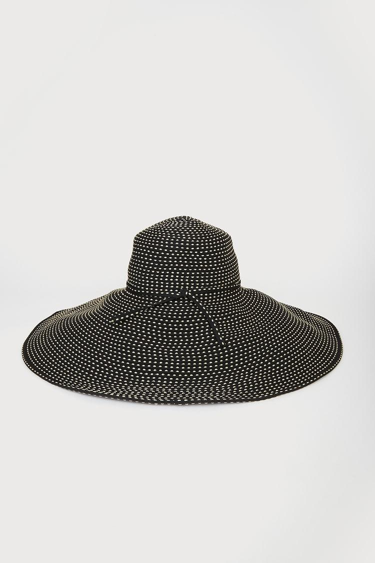 Weekend Under the Sun Black Floppy Oversized Packable Sun Hat