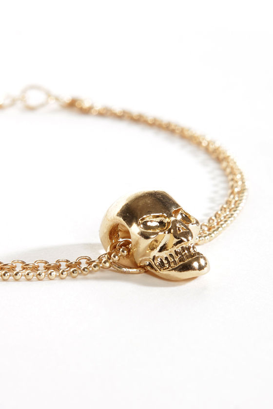 No Bones About it Gold Skull Bracelet at Lulus.com!