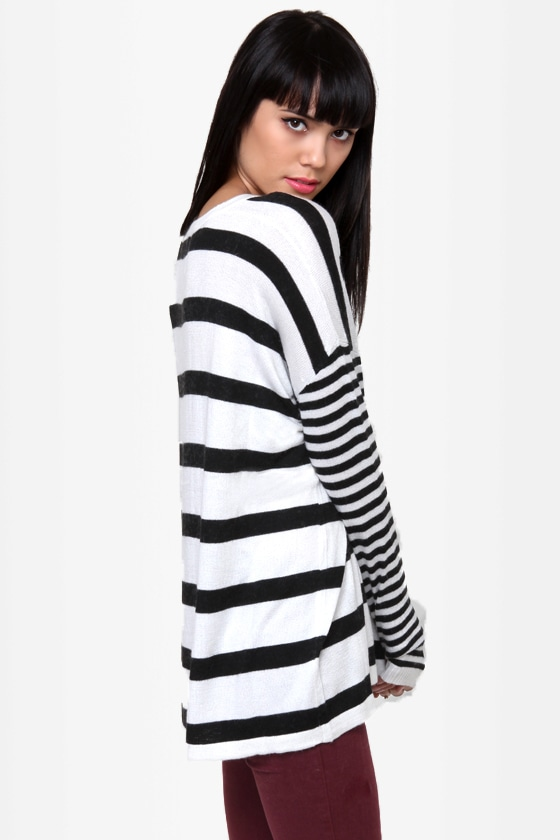 A Sailor\\\\\\\\\\\\\\\'s Life Black and Ivory Striped Sweater