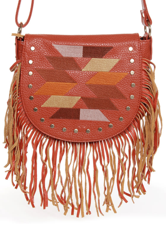 Tucson Traveler Orange Leather Purse
