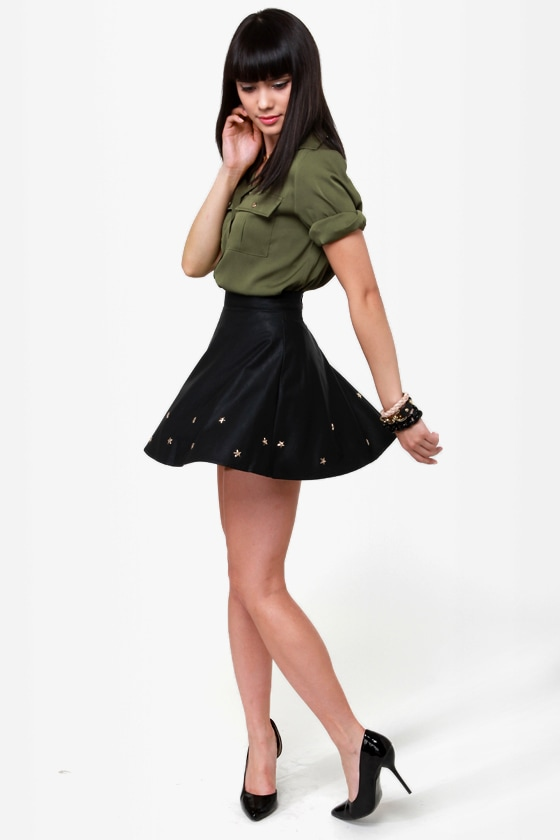 Star-Studded Cast Black Studded Vegan Leather Skirt