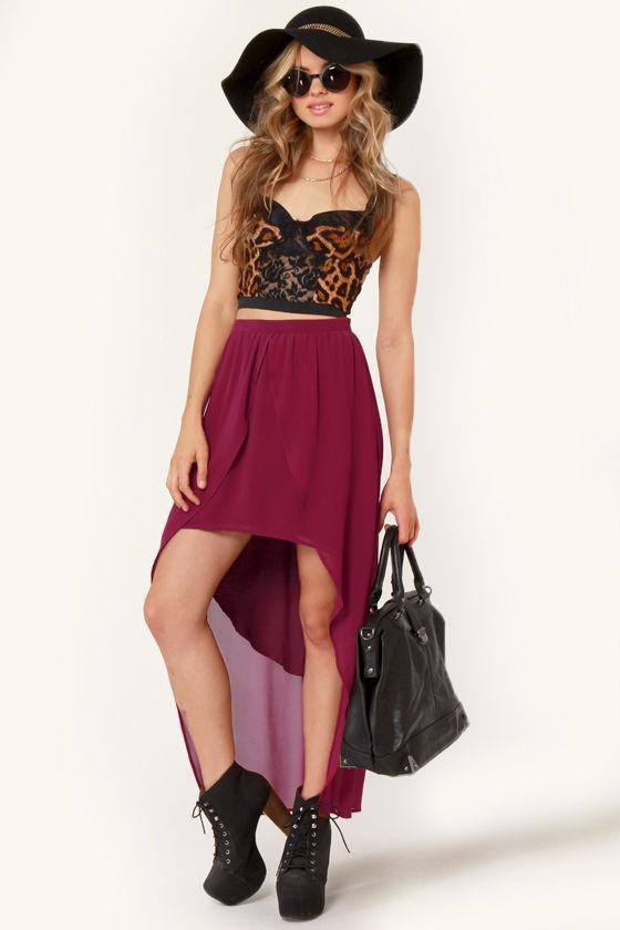 high low skirt burgundy skirt tulip skirt 70 00