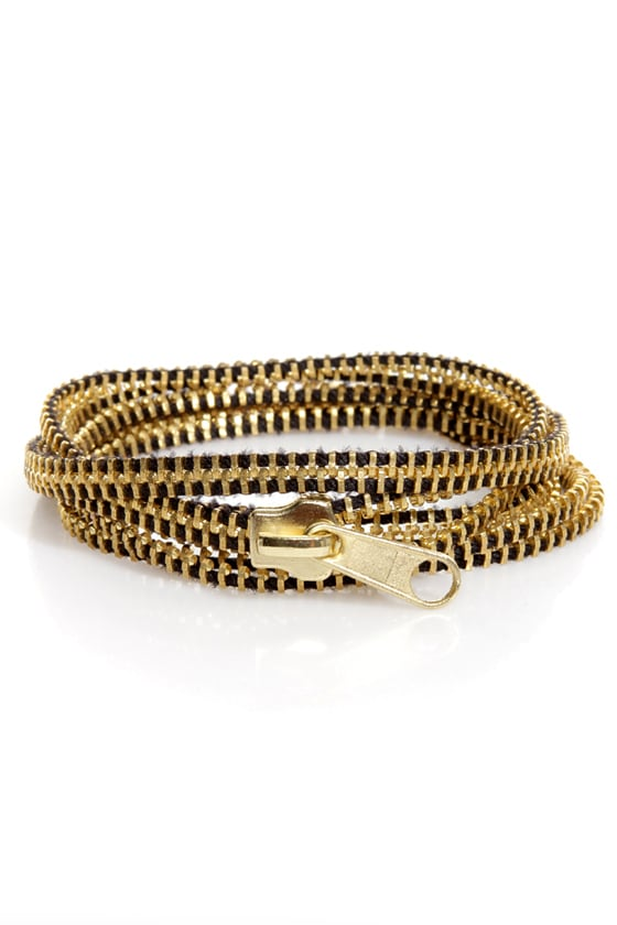 Zip Captain Gold Zipper Wrap Bracelet at Lulus.com!