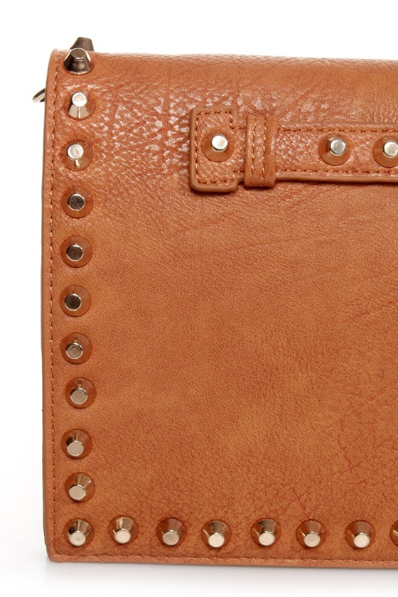 Surrounded by Studs Tan Studded Clutch