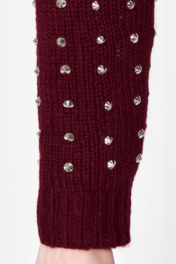 Stud-y Guide Studded Burgundy Cardigan Sweater at Lulus.com!