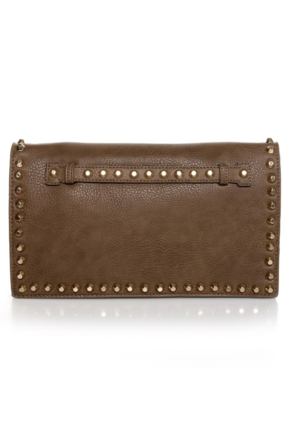 Surrounded by Studs Taupe Studded Clutch