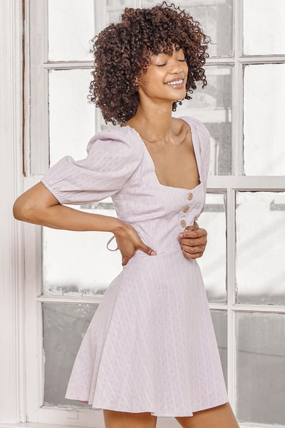 Endearing Looks Lavender Puff Sleeve Lace-Up Mini Dress