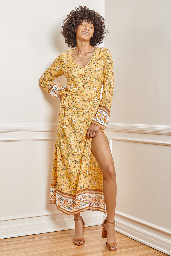 Lulus | Fond Memories Yellow Floral Print Long Sleeve Maxi Dress | Size Large | 100% Rayon