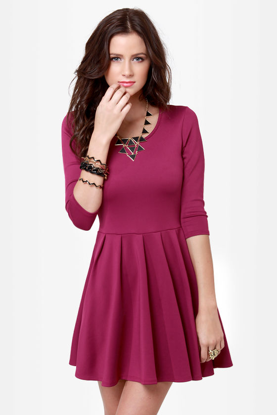 In The Moment Magenta Skater Dress at Lulus.com!
