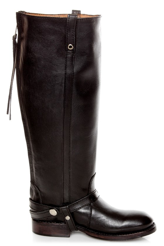 Zigi Girl Bandit Black Belted Knee High Riding Boots at Lulus.com!