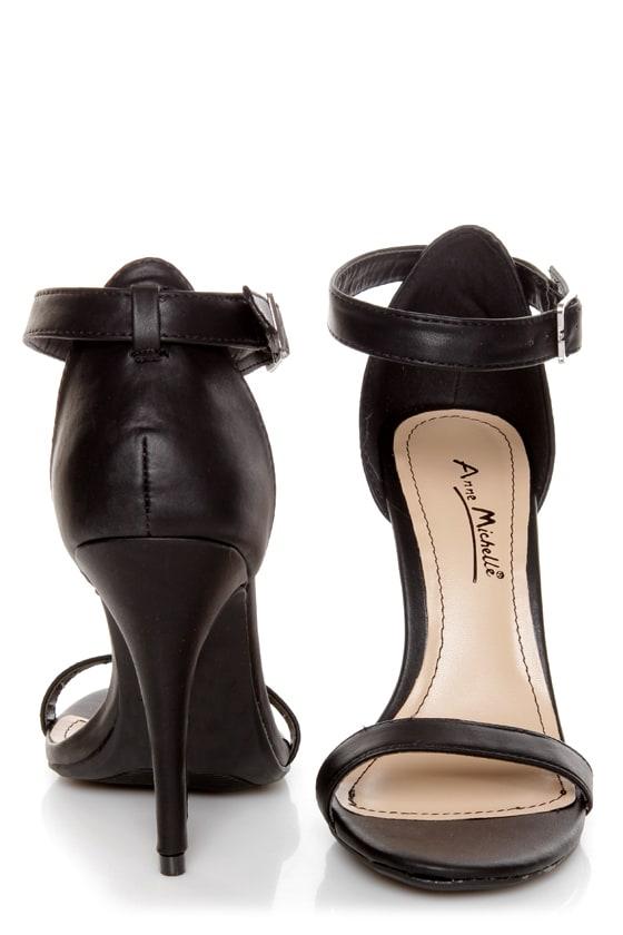 12aa8b469ec Anne Michelle Enzo 01N Black Ankle Strap Sandal Heels