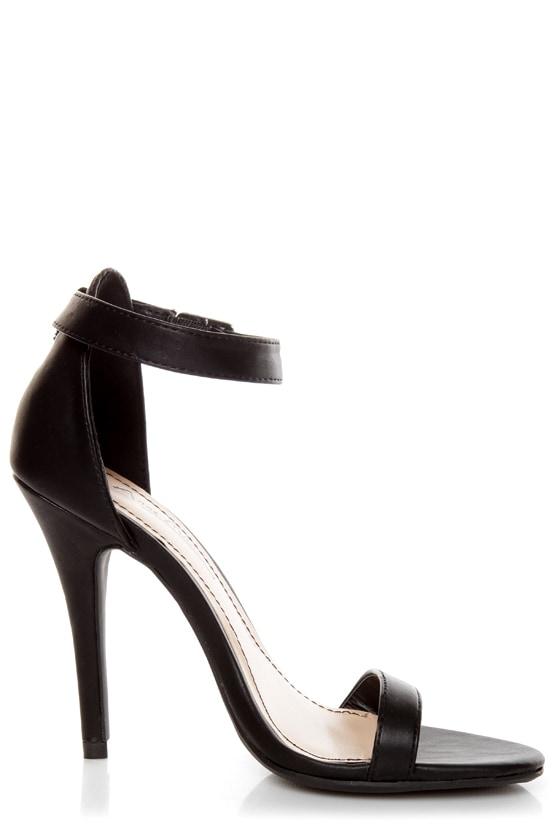 Black Ankle Strap Sandal Heels