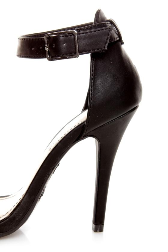 Anne Michelle Enzo 01 Black Ankle Strap Peep Toe Heels