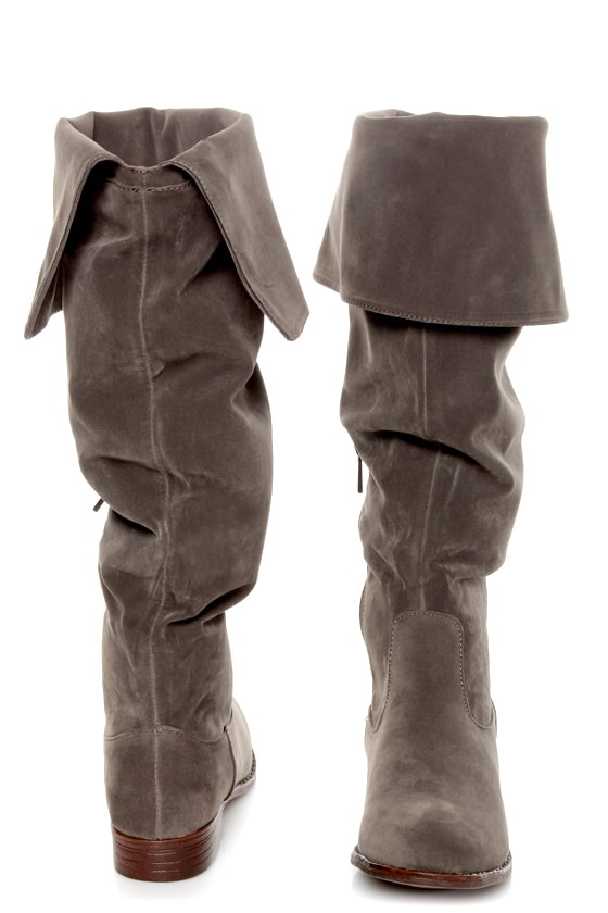Dollhouse Moscow Taupe Suede Over the Knee Boots