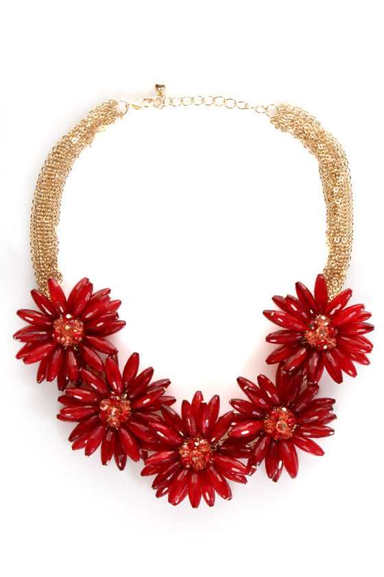 Necklace Red Flower Red Statement Necklace at