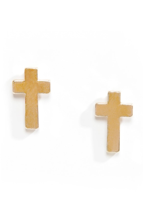 Preacher's Daughter Gold Cross Earrings at Lulus.com!