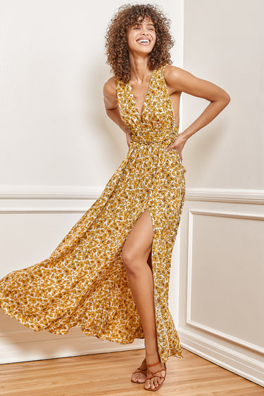 These are the Days Mustard Yellow Floral Print Halter Maxi Dress
