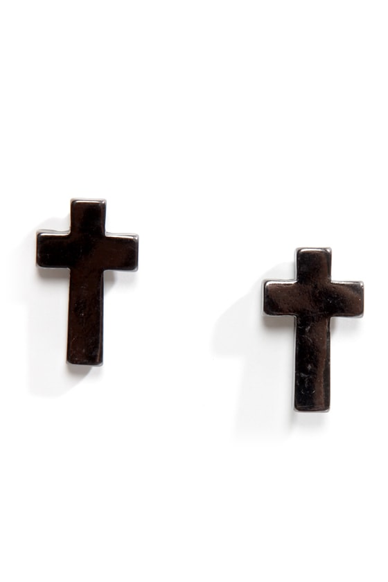 Preacher's Daughter Gunmetal Cross Earrings at Lulus.com!