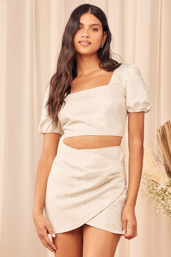 Lulus | Elegant Affairs Cream Jacquard Puff Sleeve Two-Piece Mini Dress | Size Large | Beige | 100% Polyester