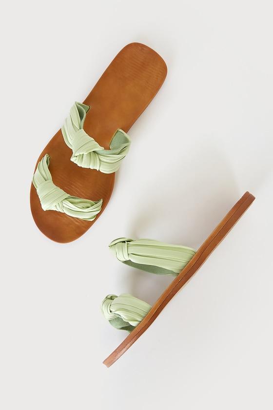 Mischa Mint Green Knotted Slide Sandals