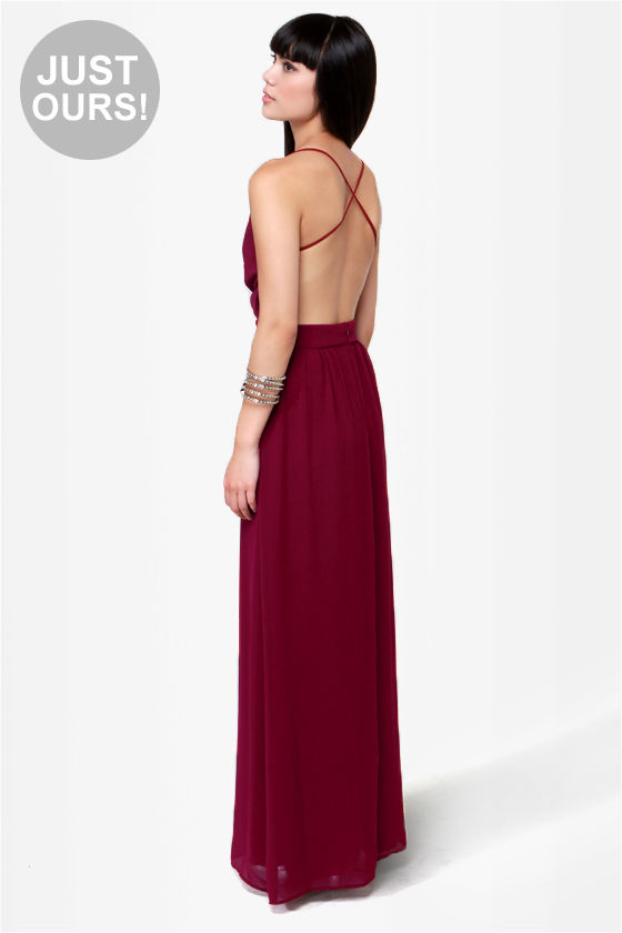 0c91b493abd Sexy Backless Dress - Burgundy Dress - Maxi Dress -  49.00