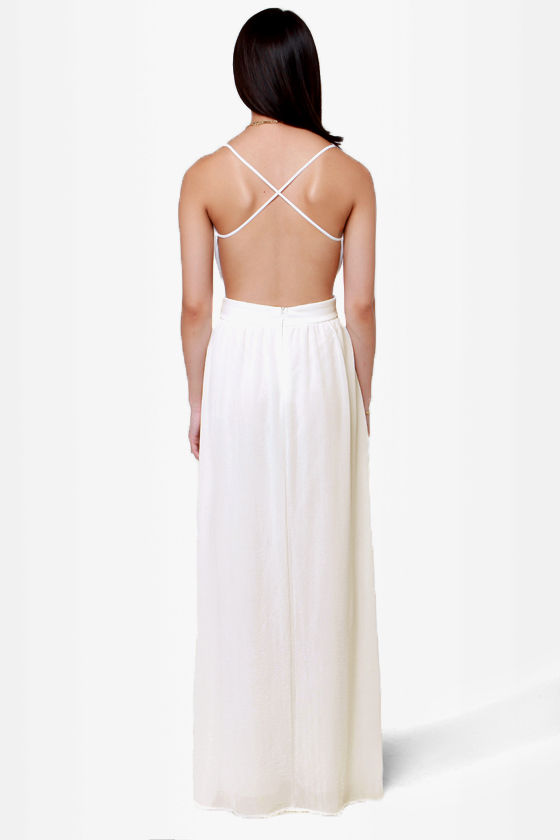 LULUS Exclusive Rooftop Garden Backless Ivory Maxi Dress at Lulus.com!
