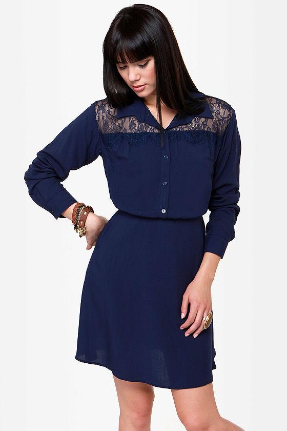 57fe50de314815 Cute Navy Blue Dress - Shirt Dress - Long Sleeve Dress -  49.00