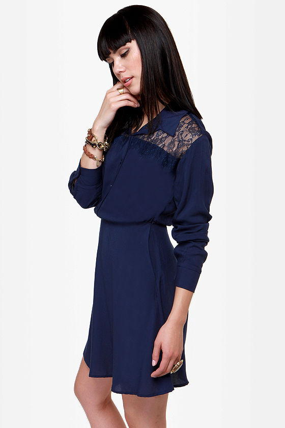 On the Western Front Navy Blue Shirt Dress at Lulus.com!