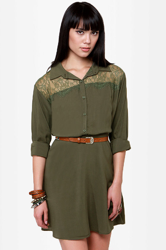 07c460a40f49 Cute Olive Green Dress - Shirt Dress - Long Sleeve Dress -  49.00
