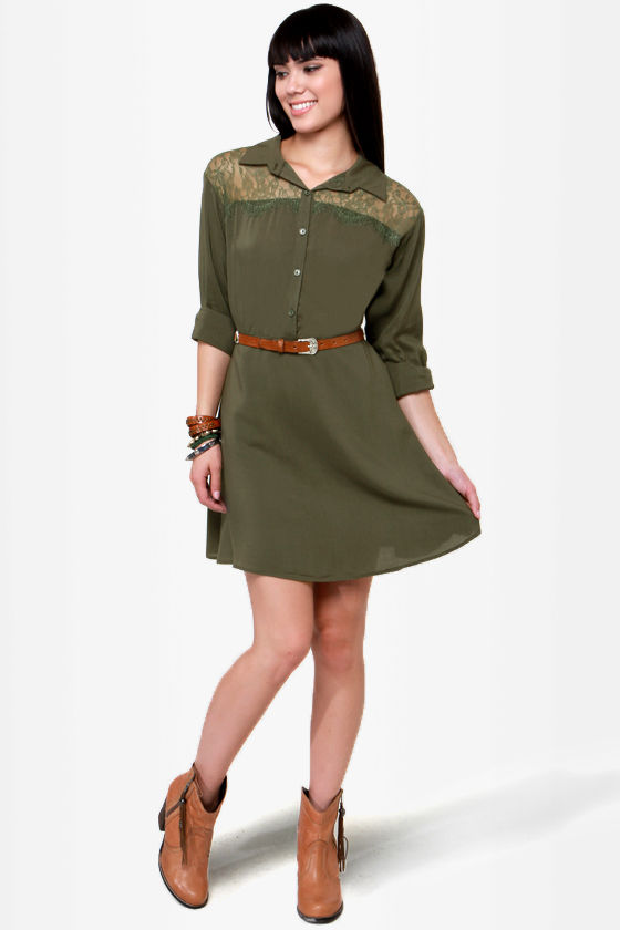 On the Western Front Olive Green Shirt Dress at Lulus.com!