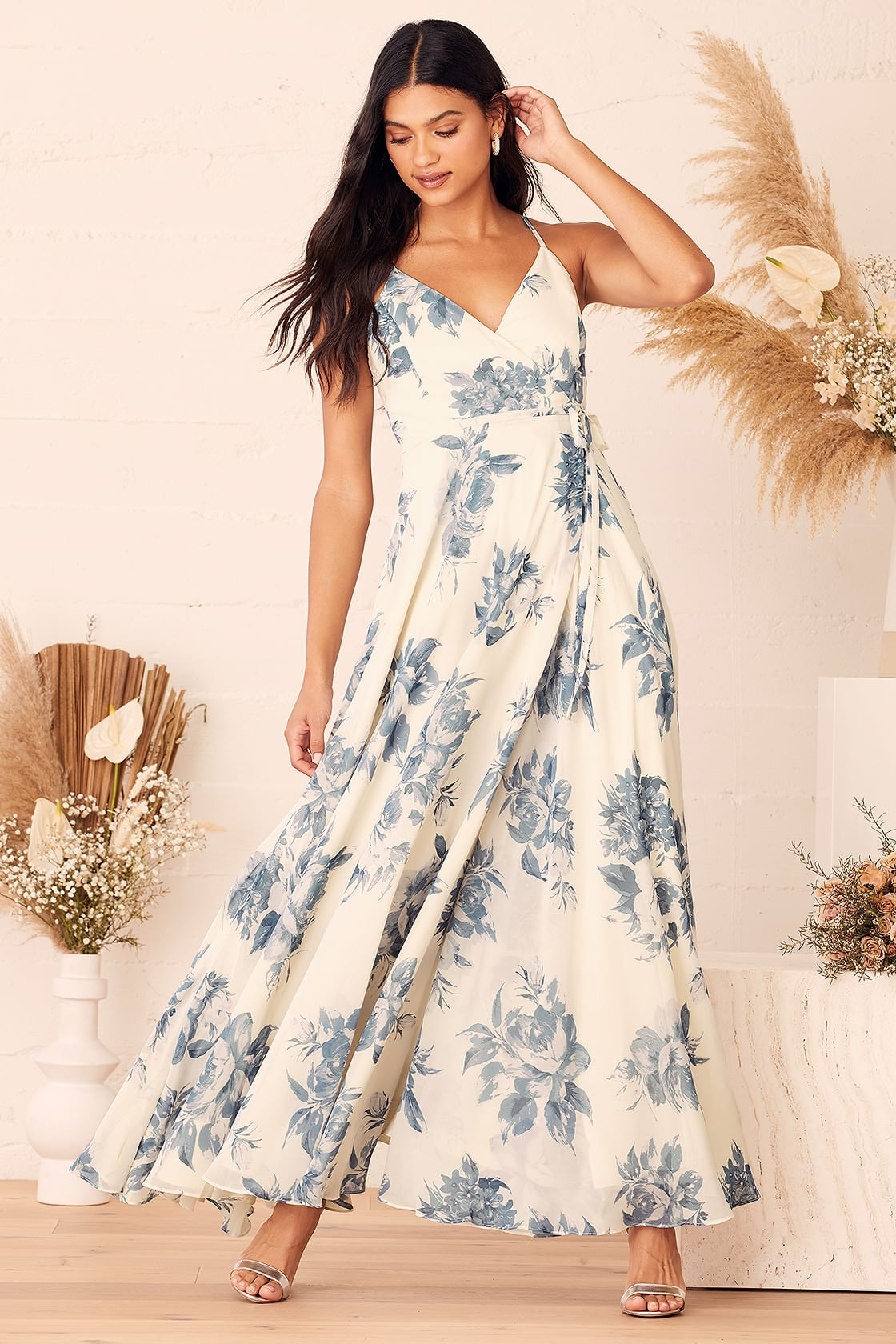 Elegantly Inclined Cream and Blue Floral Print Wrap Maxi Dress