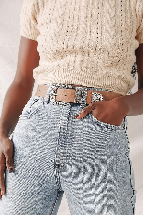 Lulus | Ride Along Brown and Silver Belt | Size Large