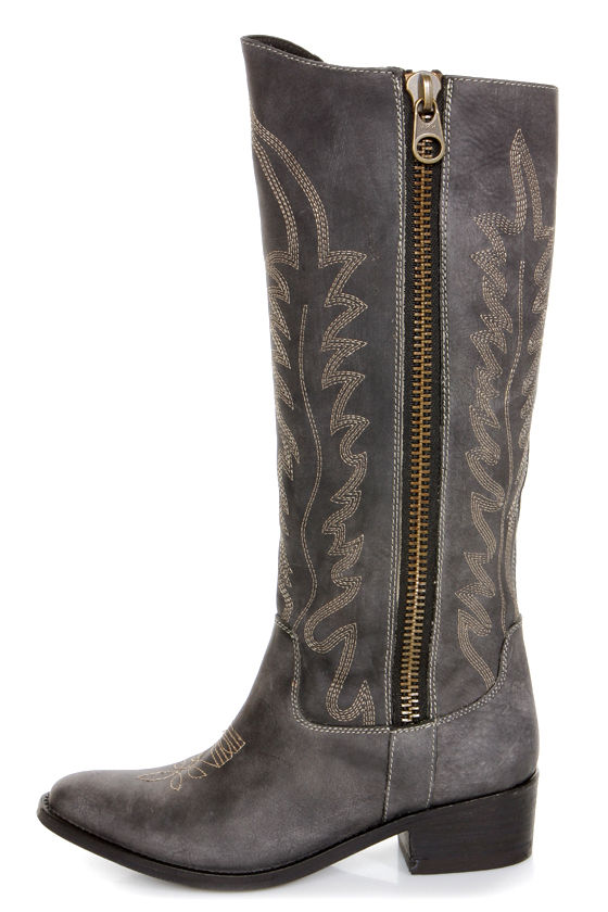 Steve Madden Graced Black Leather Embroidered Cowboy Boots - $189.00