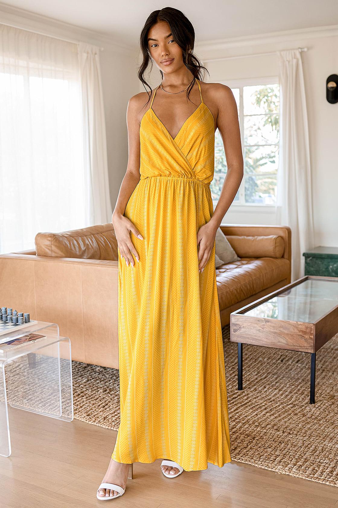 Bayside Breeze Yellow Multi Print Halter Maxi Dress